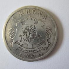 Suedia si Norvegia 1 Krona 1877 argint regele Oscar II, Europa
