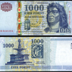 UNGARIA BANCNOTA DE 1000 FORINT 2005 UNC MATEI CORVIN NECIRCULATA - bancnota europa