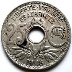 WW1, FRANTA, 25 CENTIMES 1918, Europa, Crom