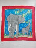 Esarfa matase, artist handmade, tablou elefanti, sal batic mare,elegant,colectie