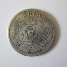 Suedia si Norvegia 1 Krona 1889 argint regele Oscar II, Europa