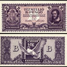 UNGARIA 10000000 B PENGO ZECE MILIOANE DE BILIOANE PENGHEI 1946 UNC NECIRCULATA