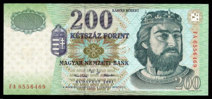 UNGARIA BANCNOTA DE 200 FORINT 2001 UNC REGELE KAROLY ROBERT NECIRCULATA