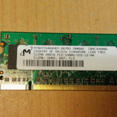 Ram Laptop Micron 512MB DDR2 PC2-5300S MT8HTF646HDY-667B3 - Memorie RAM laptop Micron, 667 mhz