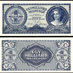 UNGARIA 1 MILIARD MIL PENGO UN MILIARD DE MILIOANE PENGHEI 1946 UNC NECIRCULATA