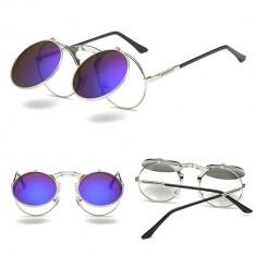 Ochelari Soare Retro / Steampunk Style Lentila Rotunda Cu Flip - Model 1, Unisex, Protectie UV 100%