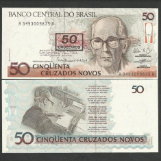 BRAZILIA 50 CRUZEIROS pe 50 CRUZADOS NOVOS 1991 UNC [1] P-223 necirculata - bancnota america