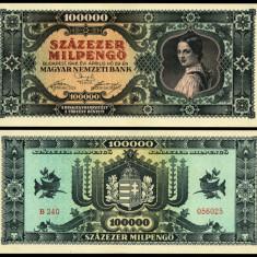 UNGARIA 100.000 MIL PENGO UNA SUTA MII DE MILIOANE PENGHEI 1946 UNC NECIRCULATA