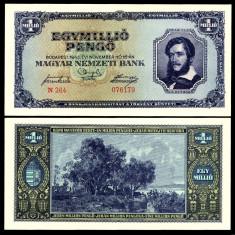 UNGARIA BANCNOTA DE 1000000 PENGO UN MILION PENGHEI 1945 UNC NECIRCULATA