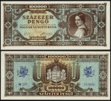 UNGARIA BANCNOTA DE 100000 PENGO UNA SUTA MII PENGHEI 1945 UNC NECIRCULATA