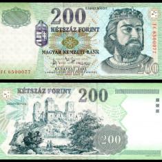 UNGARIA BANCNOTA DE 200 FORINT 2007 UNC REGELE KAROLY ROBERT NECIRCULATA - bancnota europa