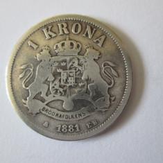 Suedia si Norvegia 1 Krona 1881 argint regele Oscar II, Europa