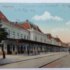 ORADEA - GARA - LOCOMOTIVA CU ABUR - CIRCULATIE MILITARA - ANUL 1917 - Carte Postala Crisana 1904-1918, Circulata, Fotografie