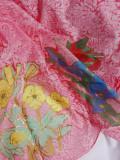 Esarfa matase, artist handmade, model floral, sal batic mare, plina, eleganta,