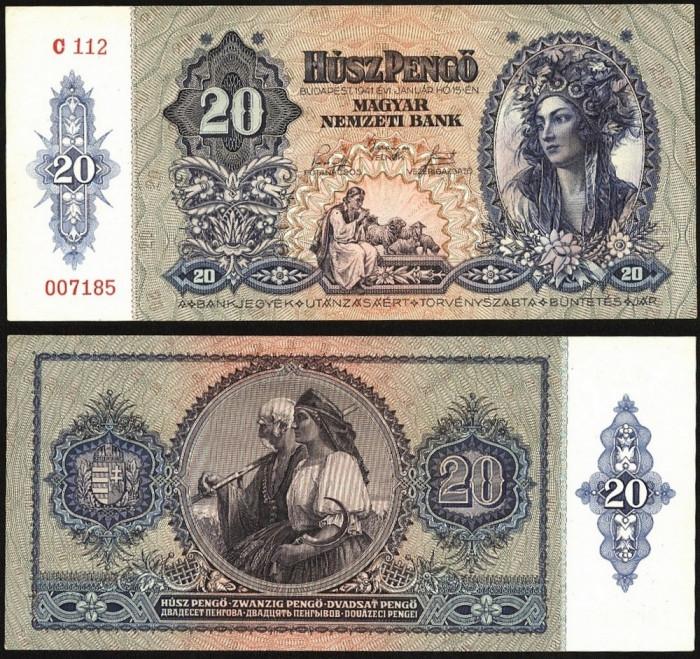 UNGARIA BANCNOTA DE 20 PENGO 1941 UNC NECIRCULATA