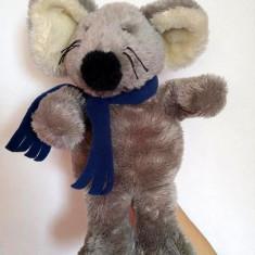 Marioneta teatru de papusi, papusa manuala, soarece, soricel cu fular albastru - Jucarii plus