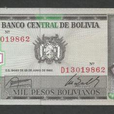 BOLIVIA 1000 1.000 PESOS BOLIVIANOS 1982, UNC [1] P-167az, necirculata - bancnota america