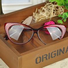 Ochelari de dama Cat Eyes lentila transparenta fara dioptrii - ROSII