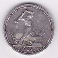 Rusia (URSS) 1 Poltinnik 1926 PL - Argint 10 g/900, MV1, 26.67 mm KM- 89.2, Europa