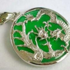 Lant stantat argint 925 + pandantiv suflat cu aur alb de 18K - cu DRAGON - Lantisor argint