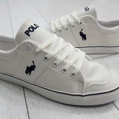 Adidasi Tenisi Polo alb - Tenisi barbati Polo By Ralph Lauren, Marime: 40, 41, 42, 43, 44, Culoare: Din imagine, Textil
