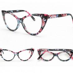 Ochelari de dama Cat Eyes lentila transparenta fara dioptrii model inflorat
