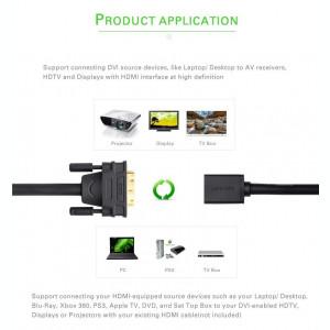 Cablu adaptor DVI-D 24+1 pini tata - HDMI mama pt laptop pc videoproiector tv