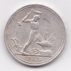 Rusia (URSS) 1 Poltinnik 1927 PL - Argint 10 g/900, MV1, 26.67 mm KM- 89.2, Europa
