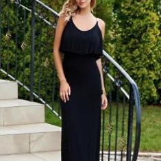 Rochie neagra lunga Massimo Dutti - Rochie de zi, Marime: L, Culoare: Negru