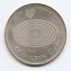 Olanda 10 Gulden 1999 - Beatrix (Millennium) Argint 15 g/800, MV1, 33 mm KM-228, Europa