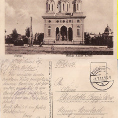 Salutari din Ploiesti (Prahova)- cenzura WWI, WK1-Biserica - Carte Postala Muntenia 1904-1918, Circulata, Printata