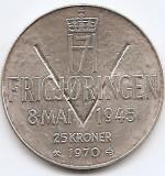 Norvegia 25 Kroner 1970 - Olav V (Liberation) Argint 29g/875, MV1 , 39 mm KM-414, Europa
