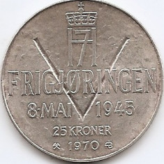 Norvegia 25 Kroner 1970 - Olav V (Liberation) Argint 29g/875, MV1, 39 mm KM-414, Europa