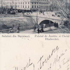 SALUTARI DIN BUCURESTI PALATUL DE JUSTITIE CHEIUL DAMBOVITEI CLASICA CIRC.1900 - Carte Postala Muntenia pana la 1904, Circulata, Printata