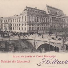 BUCURESTI  PALATUL DE JUSTITIE  SI CHEIUL DAMBOVITEI  CLASICA  CIRCULATA  1900, Printata