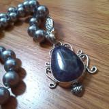 Colier perle pandant sodalit argint