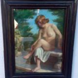 Tablou autentic Misu Teisanu - Pictor roman, Nud, Pastel, Impresionism