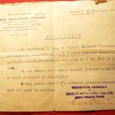 Adeverinta cu Antet a Uzinelor Metalurgice Lemaitre oct.1945 Bucuresti - Hartie cu Antet