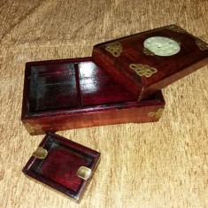 Cutie tigari de foi cu scrumiera din lemn