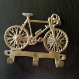 Cuier din bronz masiv cu 3 agatatori - Metal/Fonta