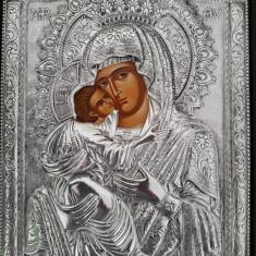 Icoana Ortodoxa deosebita din argint masiv 925 - Maica Domnului si Iisus Hristos - Icoana din metal