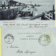 Galati- Portul-  Vapoare- clasica, rara, 1898