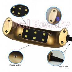 Lampa UV LED Hybrid 9W DOUBLE Light LED, Gold - Uscare Rapida Orice tip de Gel