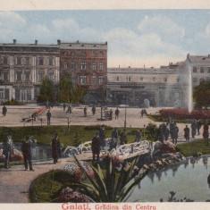 GALATI, GRADINA DIN CENTRU, DROGUERIA, CIRCULATA K. U. K. FELDPOST 1918 - Carte Postala Moldova dupa 1918, Printata
