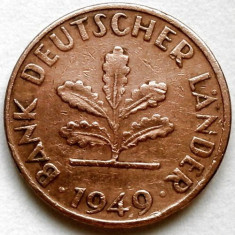 GERMANIA, 1 PFENNIG 1949, Bank Deutscher Länder, Europa, Cupru (arama)