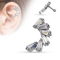 Piercing pentru ureche, realizat din oţel de 316L, arc compus din zirconii unghiulare, transparente - Piercing ureche