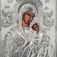 Icoana Ortodoxa deosebita din argint masiv 950 - Maica Domnului si Iisus Hristos - Icoana din metal