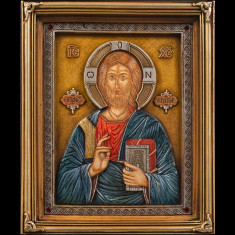 Icoana Ortodoxa deosebita sculptata si pictata - Maica Domnului si Iisus Hristos - Icoana pe lemn