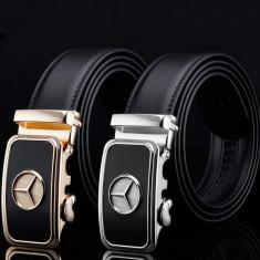 Curea piele barbateasca neagra Mercedes Benz - doar pe argintiu - Curea Barbati, Marime: L, Culoare: Negru