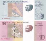 Bancnota Angola 5 si 10 Kwanzas 2012 - P151A/151B UNC ( set 2 bancnote )
